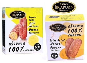 Jiraporn Solar Dried Natural Banana 100% Thailand Premium Fruit Snack